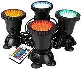 GreenSun Gartenteich Lampe RGB Aquarium Licht 8W Spot Lampe 36 Leds Unterwasserleuchte Teichbeleuchtung