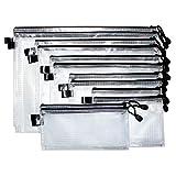 Dokumententasche (12 Stück) mit Reißverschluss in verschiedenen Größen- Reißverschlussbeutel mit Trageband - Mehrzweck Beutel für Kosmetik, Reisezubehör, Ladekabel, Büro, Schule - Reißverschlusstasche