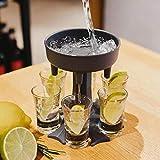6 Schnapsglas-Spender, 6 Schnapsgläser, Partygeschenke, Trinkspiele, Schnapsausgießer für schnelleres Starten der Party (grau, 13,2 x 12,3 cm)