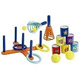Ecoiffier - Outdoor Spielset - Ringwurfspiel, Dosenwerfen, Fangball, ideale Spiele für Kindergeburtstage, Strandspielzeug, für Kinder ab 18 Monaten