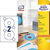 AVERY Zweckform L6015-25 selbstklebende CD-Etiketten inkl. Zentrierhilfe (blickdichte CD-Aufkleber, Ø 117 mm ClassicSize, 50 bedruckbare Klebeetiketten auf 25 Blatt, für alle A4-Drucker) weiß