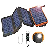 GOODaaa Solar Powerbank 25000mAh mit 4 Faltbar Solarpanels Tragbares Solar Ladegerät Outdoor 5V/2.1A USB Ausgänge Notfall-Energie Externer Akku mit Taschenlampe Kompass für Cellphones Tablet (Orange)