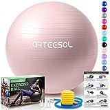 arteesol Gymnastikball, Balance Ball 45cm/55cm/65cm/75cm Yoga Ball mit Pumpe Anti-Burst Fitness Balance Ball für Core Strength (Rosa-Scrub, 65cm)