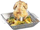 Rosenstein & Söhne Hähnchenbräter: BBQ-Hähnchen-Griller mit Aroma-Behälter für ganze Hähnchen (Hähnchengrill)