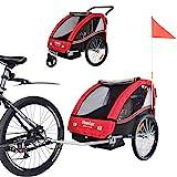 Veelar Sports 2 in 1 Kinderanhänger Fahrradanhänger Anhänger mit Buggy Set Jogger 50202-01 rot