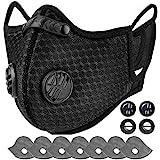 AstroAI Staubschutzmaske mit 7 Filtern & 4 Ventile- - verstellbar Mundschutz Maske Schutzmaske Wiederverwendbar für Laufen, Radfahren, Gesichtsmaske für Damen und Herren,Schwarz