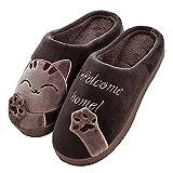 JACKSHIBO Herren Hausschuhe, Warme Plüsch Hausschuhe Indoor rutschfeste Slippers Cartoon Cat Pantoffeln Für Damen, Brown, 42/43 EU