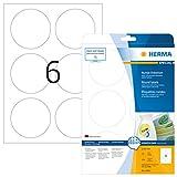 HERMA 5068 Universal Etiketten DIN A4 ablösbar (Ø 85 mm, 25 Blatt, Papier, matt, rund) selbstklebend, bedruckbar, abziehbare und wieder haftende Adressaufkleber, 150 Klebeetiketten, weiß