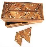 LOGOPLAY Tridomino - Triomino - Dreieck-Domino - Legespiel - Gesellschaftsspiel aus Holz mit weißen Zahlen