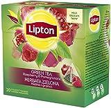 Lipton Grüner Tee - Himbeere and Granatapfel - Neu und Einzigartige Geschmack - 20 Premium Tee Pyramidenbeutel in einem Box [3er Pack]