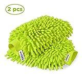 SYCEES 2 Stücke Wasserdicht Mikrofase Waschhandschuh,weicher Korallen Auto Chenille autowaschhandschuh, Handschuh für Autowäsche