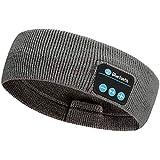 Rpanle Schlafkopfhörer Bluetooth, Kabelloses Sport Stirnband Kopfhörer mit HD-Stereolautsprechern, Schlaf Kopfhörer Ohrstöpsel Waschbare Schlafkopfhoerer für Sport, Seitenschläfer Dunkel grau