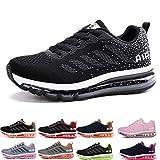 frysen Herren Damen Sportschuhe Laufschuhe mit Luftpolster Turnschuhe Profilsohle Sneakers Leichte Schuhe Black White 37