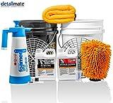 detailmate komplettes Set für das 2 Eimer Wasch System mit 2 Eimern + 2 Einsätzen, Snow Foam, Autoshampoo, Foamer, Waschhandschuh und Trockentuch
