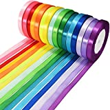 Wtrcsv Satinband 16 Farben 22m X 10mm, Schleifenband Geschenkband Bänder zum Basteln, 16 Farben (Rot Rosa Lila Dunkelblau Gelb.)