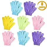 Quacoww Peeling-Handschuhe, 5 Finger, Badetuch, stark, doppelseitig, 8 Paar
