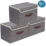 E-MANIS 3-Pack Aufbewahrungsbox inkl, mit lDeckel, Cube Aufbewahrungskorb Ordnungsystem Sauraum Boxen Körbe Kisten 38 X25 X 25 cm - Grau