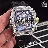 WAVFCSE Luxusuhr für Herren Gummi Schwarz Rot Saphir Automatik Mechanik Silbergrau Voller Diamant Eisiger Spinnkalender AAA Schwarz 1