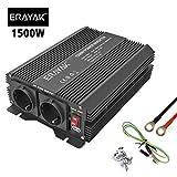 ERAYAK Wechselrichter 1500W (Spitzenleistung 3000W), Spannungswandler, Transformator, Stromwandler für 12V auf 230V Inverter, mit 2 AC-Steckdosen und 5V 2.1A USB.