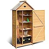 DREAMADE Gerätehaus Holz, Gartenschrank für den außenbereich,Geräteschuppen wetterfest,Holzschuppen Holzhaus Geräteschrank Werkzeugschuppen, 176 x 70 x 36 cm