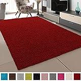 SANAT Teppich Wohnzimmer - Rot Hochflor Langflor Teppiche Modern, Größe: 60x110 cm