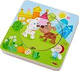 HABA 303536 - Holzpuzzle Kunterbunte Tierkinder   Puzzlespaß in 5 Schichten   Holzspielzeug ab 12 Monaten   Stabile Holzteile mit bunten Tiermotiven