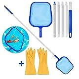 SUXMAN Laubkescher, Pool Kescher Schwimmbad Kescher Mit 1.6M Alu Teleskopstange laubkescher Kescher Pool Reinigungsset Poolzubehör für Pool Mit Reinigungshandschuhen.