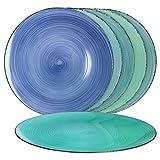 MamboCat 6-TLG. Set Platzteller Blue Baita - Curacao I 6 versch. Blautöne I Tisch-Set, Untersetzer, Platte, Unterlage I Deko-Accessoire