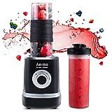 Smoothie Maker Mixer, Aeitto Mini Mixer Blender 500W, Mini Standmixer mit 2 X 520ml Reise Sport Flaschen BPA-frei Tritan-Trinkflasche, 3 einstellbare Geschwindigkeit