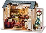 QLKJ DIY Holzhaus Mini-Puppe Haus Kit Fotorealistische 3D Mini-Zimmer Handwerk Mit MöBeln Led Licht Kindertag Geburtstag Geschenke Weihnachten Dekoration