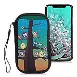kwmobile Handytasche für Smartphones L - 6,5' - Neopren Handy Tasche Hülle Cover Case Schutzhülle - Eule Baum Design Mehrfarbig Blau Braun - 16,2 x 8,3 cm Innenmaße