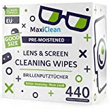 MAXI CLEAN Brillenputztücher - 440 Brillenputztücher Feucht - Brillenreiniger Feuchttücher für Brillen, Laptop- und PC-Bildschirme, Ferngläser, Optische Linsen, Uhrengläser