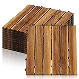 Hengda 22x Holzfliesen aus Akazienholz Balkonfliesen Terrassenfliesen, Bodenbelag mit Drainage, Fliese Leicht verlegbar(6 Latten | 2 m²)