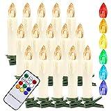 Hengda 40Stk LED Weihnachtskerzen Kabellos, RGB & Warmweiß Christbaumkerzen mit Fernbedienung Timer, LED Kerzen für Weihnachtsbaum, Weihnachtsdeko, Weihnachtsbaumkerzen, Wasserdicht