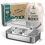 Brotdose Edelstahl Kinder - Lunchbox Erwachsene - Lunch Box - Bento Box Edelstahl - Edelstahl Brotdose Kinder mit Fächern - Brotzeitbox Kinder - Brotbox Edelstahl - Kindergarten Brotdose Groß 1400 ml