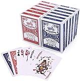 LotFancy Spielkarten 12X Pokerkarten Poker Set Playing Cards Standard, Top Qualität Profi für Texas Holdem Poker, Blackjack, Euchre, 6 Blau und 6 Rote