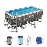 Power Steel Frame Pool-Set, eckig, mit Filterpumpe & Sicherheitsleiter 412 x 201 x 122 cm
