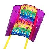 CIM Kinder-Drachen - Beach Kite BUTTERFLY - Einleiner-Flugdrachen für Kinder ab 6 Jahren - 74x47cm - inkl. 40m Drachenschnur und Streifenschwänze