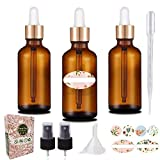 3Pcs 30ml Pipettenflasche Tropfflasche aus Braunglas Set - Dunkel kleine Glasgefäße als Apothekerflaschen Inklusive Hilfszubehör (Braun)