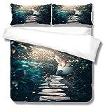 Bettbezug Grünes, gutes Mädchen und Tiere Bettwäscheset aus 3D-bedrucktem Polyester mit Zwei Umschlagkissenbezügen Lichtbeständige, hypoallergene, hochwertige 135x200 cm