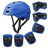 Kinder Sport-Schutzausrüstung von KUYOU, 7PCS Knieschoner Ellenbogenschoner Handgelenkschutz Helm Schutzset zum Draußen Rollschuhlaufen Inline Skates Skateboarding Radfahren (blau)