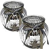 Bada Bing 2er Set Windlicht Silber Aus Glas Holz Stern bauernsilber Bändern Wunderschönes Stimmungslicht 64…