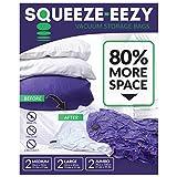 Space Saver Vakuum-Aufbewahrungsbeutel mit Handpumpe für Kleidung, Bettdecken, Kissen & Reise, extragroß, groß, mittelgroß, 6Stück