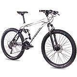 CHRISSON 27,5 Zoll Mountainbike Fully - Hitter FSF Weiss schwarz - Vollfederung Mountain Bike mit 30 Gang Shimano Deore Kettenschaltung - MTB Fahrrad für Herren und Damen mit Rock Shox Federgabel