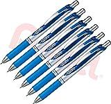 Pentel Gel-Tintenroller EnerGel mit Druckmechanik, 6 Stück, 0.7mm (blau, 6er Pack)