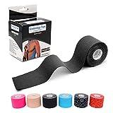 LEANKING Kinesiologie Tape in verschiedenen Farben (5m x 5cm) Kinesiotapes wasserfest und elastisch - Physiotape Kinesiotape Sporttape - Kinesio Tapes (Black)