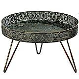Home Collection Beistelltisch Tisch Tabletttisch D36xH22cm Goldbraun Eisen