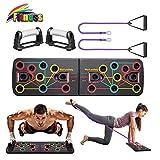 Yoophane 13 in 1 Liegestütze Brett mit Wiederstands Bänder, Multifunktionale Fitness Geräte Push Up Board, Gymgrizzly Home Muscle Builder Liegestützgriffe für Männer und Frauen