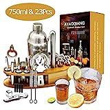 AYAOQIANG Cocktail Shaker Geschenk Edelstahl 24 Teiliges Cocktail Set Bar Zubehör Cocktailset 750 ML Cocktailshaker mit Holzständer Für Barmann Männer und Frauen, Ideal für Zuhause oder die Bar