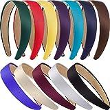 12 Stück Harte Stirnbänder Satin Stirnbänder 1 Zoll Stirnbänder Rutschfeste Band Haarbänder DIY Haarschmuck Stirnbänder Headwear für Damen Mädchen